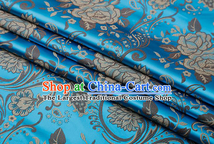 Chinese Traditional Twine Peony Lotus Pattern Blue Brocade Fabric Cheongsam Tapestry Drapery