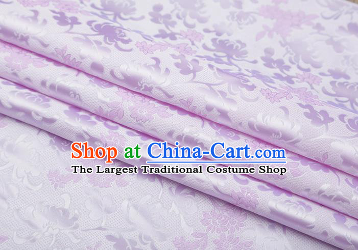 Chinese Traditional Jacquard Pattern Lilac Brocade Fabric Cheongsam Tapestry Drapery
