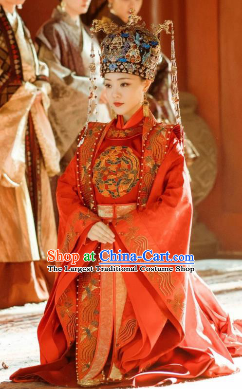 Chinese Drama Ancient Ming Dynasty Empress Hu Shanxiang Replica Costumes and Headdress Complete Set for Women