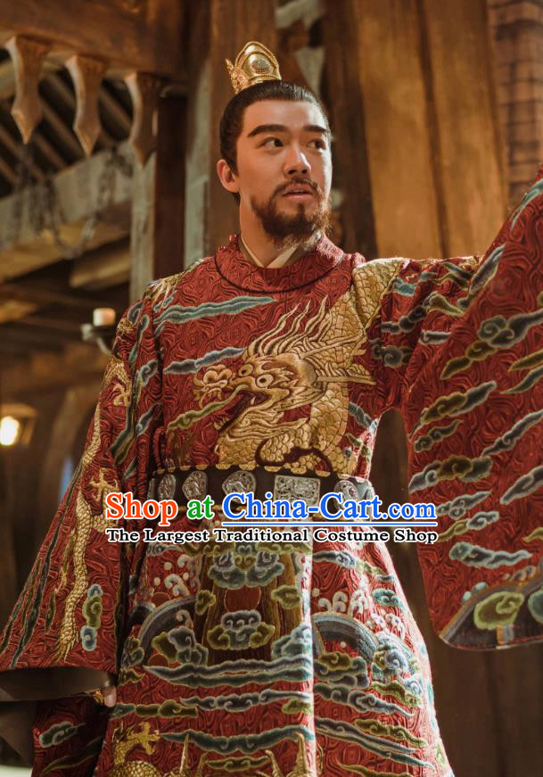 Chinese Ancient Prince of Han Drama Empress of the Ming Dynasty Zhu Gaoxu Replica Costumes and Headpiece Complete Set
