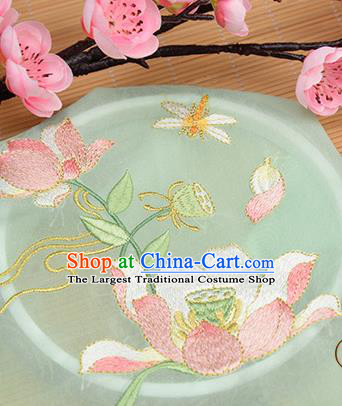 Chinese Traditional Embroidered Lotus Light Green Chiffon Applique Accessories Embroidery Patch