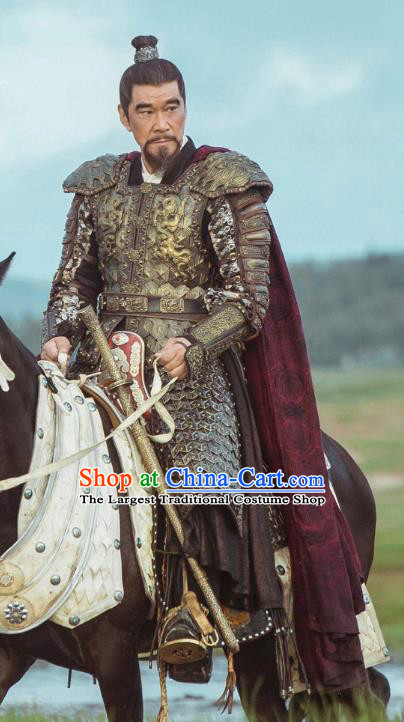 Chinese Ancient Yongle Emperor Armor Drama Empress of the Ming Dynasty Zhu Di Replica Costumes for Men