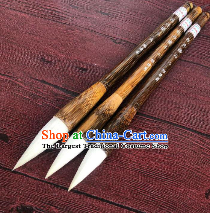 Traditional Chinese Calligraphy Weasel Hair Brush Handmade The Four Treasures of Study Brown Bamboo Writing Brush Pen