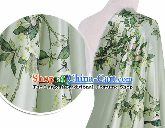 Chinese Classical Pear Flowers Pattern Design Light Green Silk Fabric Asian Traditional Hanfu Mulberry Silk Material