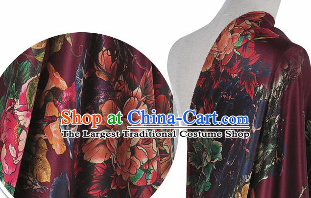 Chinese Classical Peony Pattern Design Purple Silk Fabric Asian Traditional Hanfu Mulberry Silk Material