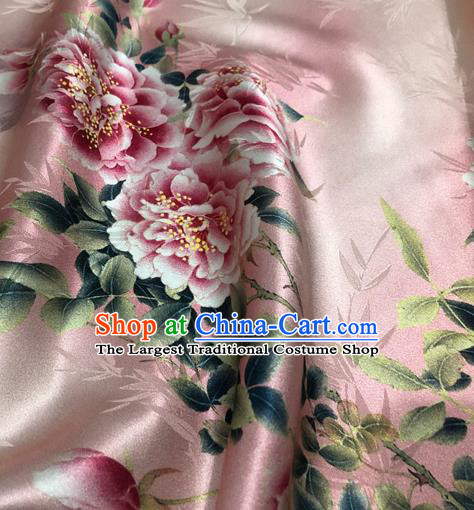 Chinese Classical Bamboo Peony Pattern Design Pink Silk Fabric Asian Traditional Hanfu Mulberry Silk Material