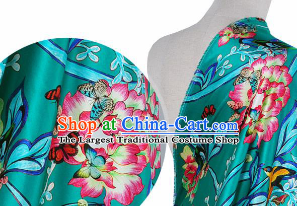 Chinese Classical Twine Peony Pattern Design Green Silk Fabric Asian Traditional Hanfu Mulberry Silk Material