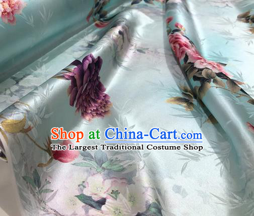 Chinese Classical Bamboo Peony Pattern Design Light Green Silk Fabric Asian Traditional Hanfu Mulberry Silk Material