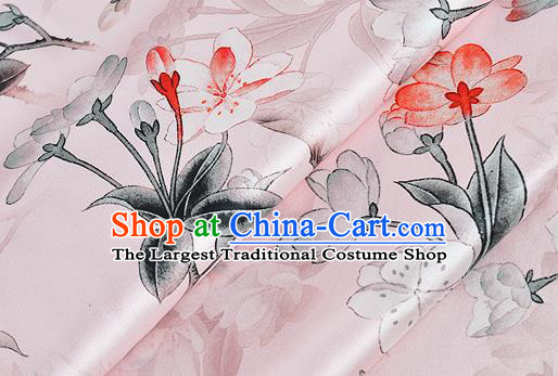 Chinese Classical Peach Blossom Pattern Design Pink Silk Fabric Asian Traditional Hanfu Mulberry Silk Material