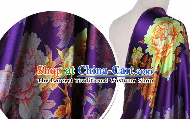 Chinese Classical Peony Flowers Pattern Design Purple Silk Fabric Asian Traditional Hanfu Mulberry Silk Material