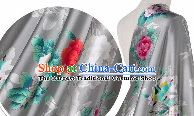 Chinese Classical Peony Flowers Pattern Design Grey Silk Fabric Asian Traditional Hanfu Mulberry Silk Material