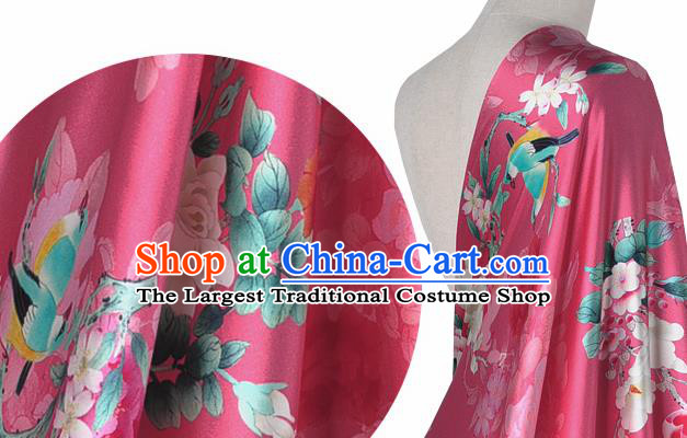 Chinese Classical Magnolia Pattern Design Peach Pink Silk Fabric Asian Traditional Hanfu Mulberry Silk Material