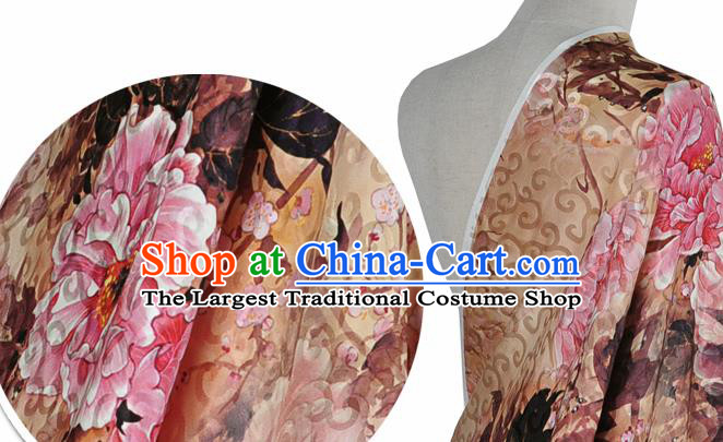 Chinese Classical Peony Pattern Design Light Brown Silk Fabric Asian Traditional Hanfu Mulberry Silk Material