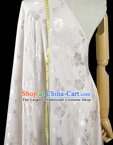 Chinese Classical Pattern Design White Silk Fabric Asian Traditional Hanfu Mulberry Silk Material