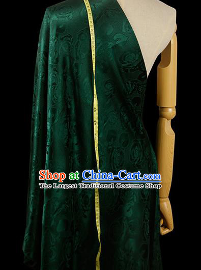 Chinese Classical Roses Pattern Design Deep Green Silk Fabric Asian Traditional Hanfu Mulberry Silk Material