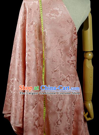 Chinese Classical Peony Pattern Design Pink Silk Fabric Asian Traditional Hanfu Mulberry Silk Material