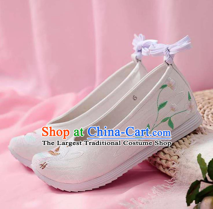 Chinese Embroidered Crane White Shoes Hanfu Shoes Women Shoes Opera Shoes Princess Shoes