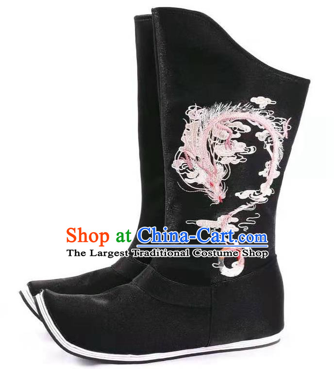 Traditional Chinese Embroidered Dragon Black Boots Kung Fu Boots Opera Shoes Hanfu Shoes for Women