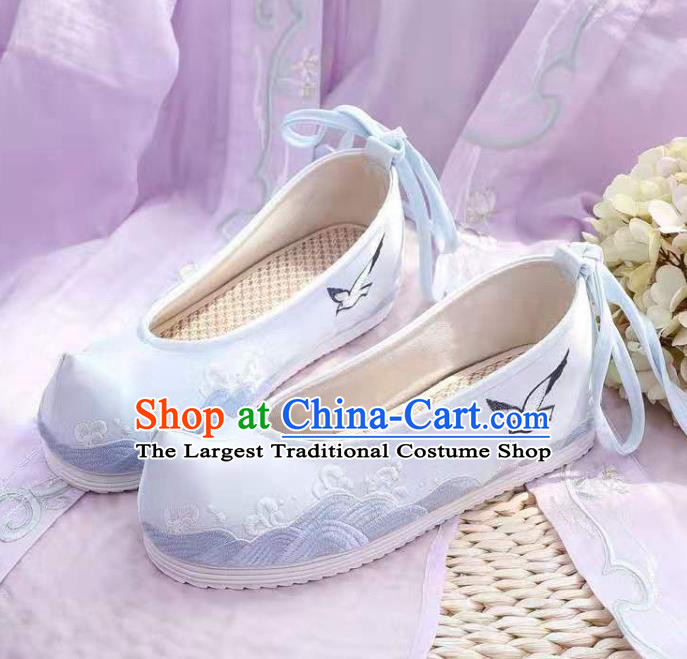 Chinese Embroidered Sea Gull Blue Shoes Hanfu Shoes Women Shoes Opera Shoes Princess Shoes