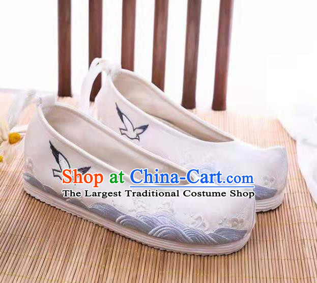 Chinese Embroidered Sea Gull White Shoes Hanfu Shoes Women Shoes Opera Shoes Princess Shoes