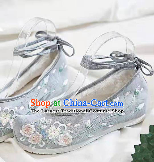 Chinese Embroidered Flowers Grey Shoes Hanfu Shoes Women Shoes Opera Shoes Princess Shoes
