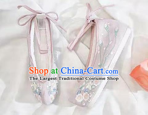 Chinese Embroidered Flowers Pink Shoes Hanfu Shoes Women Shoes Opera Shoes Princess Shoes
