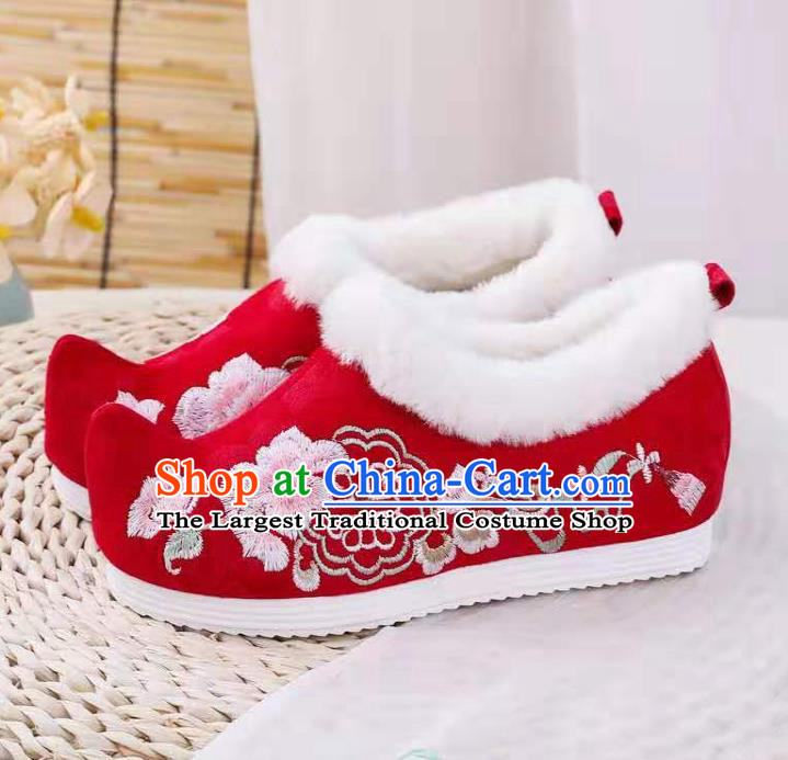 Chinese Winter Embroidered Red Shoes Hanfu Shoes Women Shoes Opera Shoes Princess Shoes