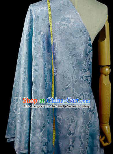 Chinese Classical Peony Pattern Design Light Blue Silk Fabric Asian Traditional Hanfu Mulberry Silk Material