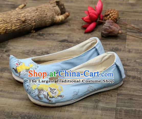 Chinese Embroidered Lion Blue Shoes Hanfu Shoes Women Shoes Opera Shoes Princess Shoes