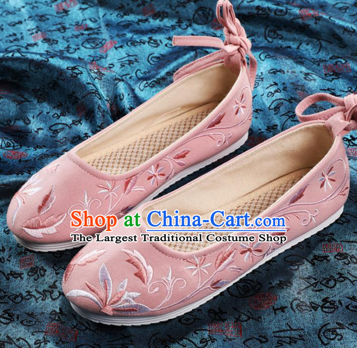 Chinese Embroidered Pink Shoes Hanfu Shoes Women Shoes Opera Shoes Princess Shoes