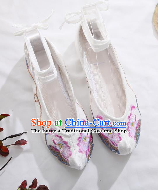 Traditional Chinese Embroidered Lotus White Shoes Hanfu Shoes Women Shoes Opera Shoes Princess Shoes
