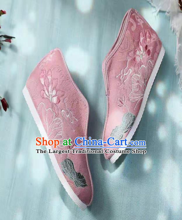 Chinese Pink Embroidered Lotus Shoes Hanfu Shoes Women Shoes Opera Shoes Princess Shoes