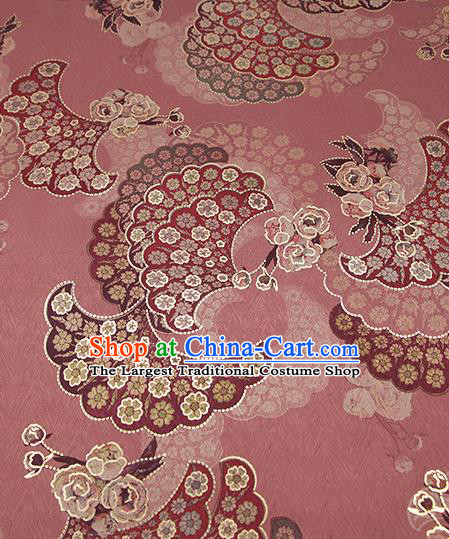 Chinese Classical Paeonia Lactiflora Pattern Design Pink Brocade Fabric Asian Traditional Hanfu Satin Material