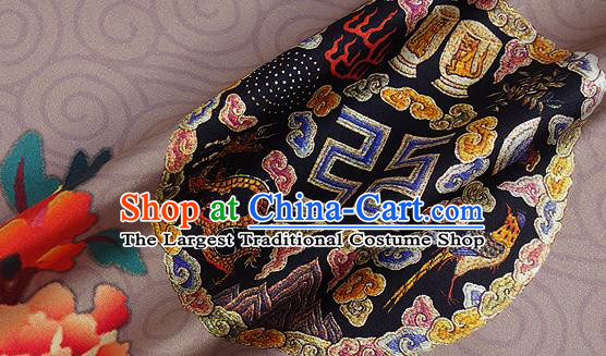 Chinese Classical Dragon Peony Pattern Design Light Brown Silk Fabric Asian Traditional Hanfu Mulberry Silk Material
