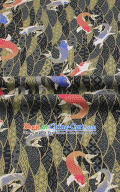 Chinese Classical Carps Pattern Design Black Brocade Fabric Asian Traditional Hanfu Satin Material