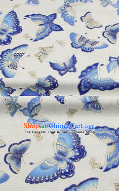 Chinese Classical Butterfly Pattern Design White Brocade Fabric Asian Traditional Hanfu Satin Material
