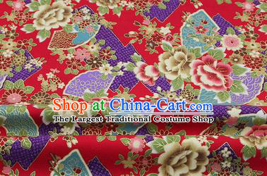 Chinese Classical Peony Fan Pattern Design Red Brocade Fabric Asian Traditional Hanfu Satin Material
