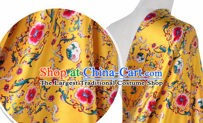 Chinese Classical Twine Flowers Pattern Design Yellow Silk Fabric Asian Traditional Hanfu Mulberry Silk Material