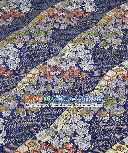 Chinese Classical Sakura Pattern Design Deep Blue Brocade Fabric Asian Traditional Hanfu Satin Material