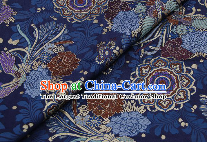 Chinese Classical Phoenix Peony Pattern Design Navy Brocade Fabric Asian Traditional Hanfu Satin Material