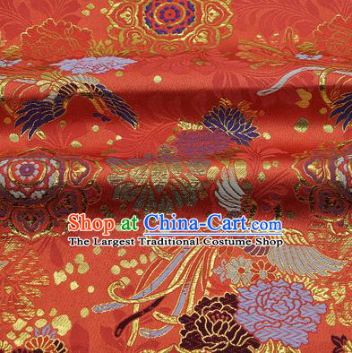 Chinese Classical Phoenix Peony Pattern Design Red Brocade Fabric Asian Traditional Hanfu Satin Material