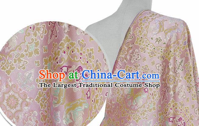 Chinese Classical Flowers Bird Pattern Design Pink Silk Fabric Asian Traditional Hanfu Mulberry Silk Material