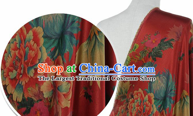 Chinese Classical Peony Chrysanthemum Pattern Design Red Silk Fabric Asian Traditional Hanfu Mulberry Silk Material