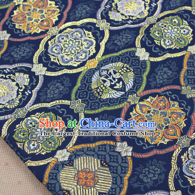Asian Japanese Traditional Pattern Design Navy Brocade Fabric Tapestry Satin