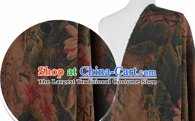 Chinese Classical Lotus Pattern Design Atrovirens Silk Fabric Asian Traditional Hanfu Mulberry Silk Material