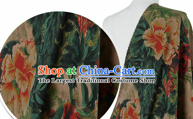 Chinese Classical Peony Pattern Design Atrovirens Silk Fabric Asian Traditional Hanfu Mulberry Silk Material