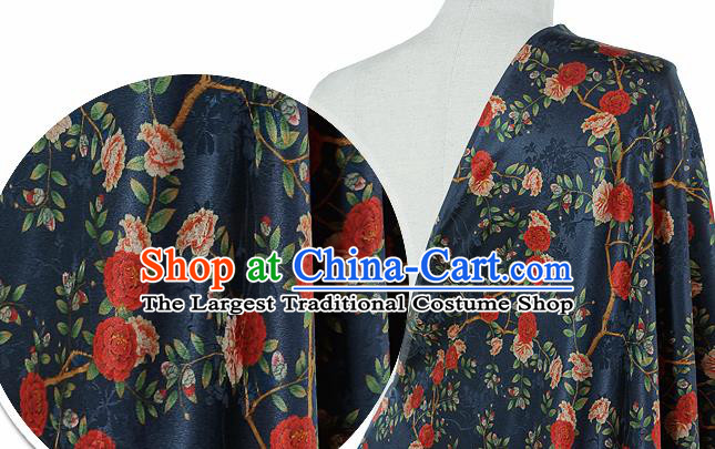 Chinese Classical Roses Pattern Design Navy Silk Fabric Asian Traditional Hanfu Mulberry Silk Material