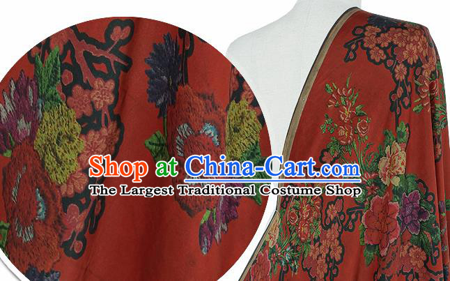 Chinese Classical Peony Plum Pattern Design Rust Red Silk Fabric Asian Traditional Hanfu Mulberry Silk Material