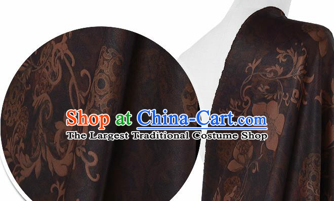 Chinese Classical Pattern Design Brown Silk Fabric Asian Traditional Hanfu Mulberry Silk Material