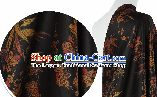 Chinese Classical Bamboo Plum Pattern Design Black Silk Fabric Asian Traditional Hanfu Mulberry Silk Material